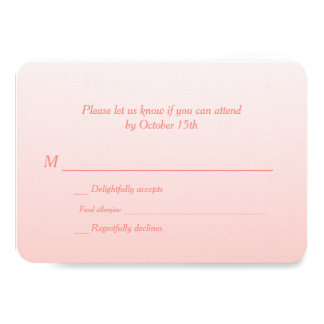 Bilingual Coral Ombre Wedding RSVP Custom Announcement Card