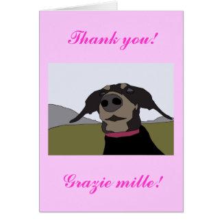 Bilingual Dachshund Thank You Card