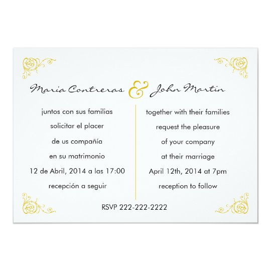 spanish wedding invitations bilingual wedding invitation zazzle 7606
