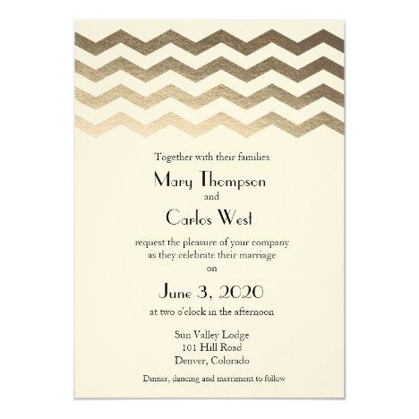 Bilingual Gold Ecru Chevron Wedding Invitation