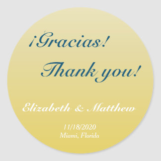 Bilingual Gold Ombre Wedding Thank You Sticker