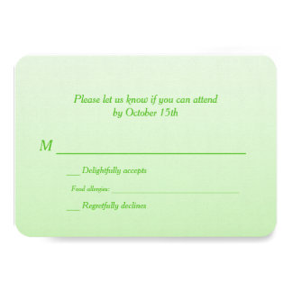 Bilingual Green Ombre Wedding RSVP Custom Invite