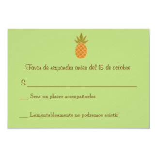 Bilingual Pineapple Wedding RSVP 2-sided 3.5x5 Paper Invitation Card