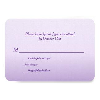 Bilingual Purple Ombre Wedding RSVP Card
