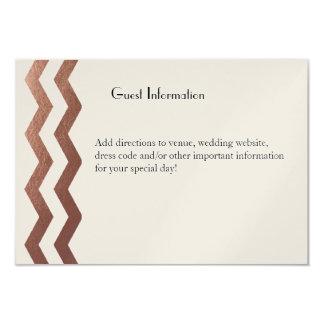 Bilingual  Rose Gold Chevron Wedding Guestcard Custom Invitation