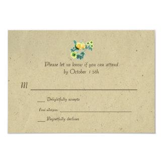 Bilingual Rustic Flower Garland Wedding RSVP Card