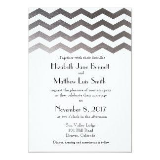 Bilingual Silver Chevron Wedding Invitation
