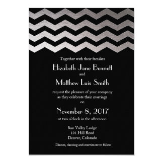 Bilingual Silver Night Chevron Wedding Invitation