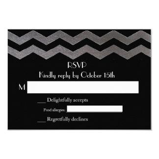 Bilingual SIlver Night Chevron Wedding RSVP Customized Invitation Card