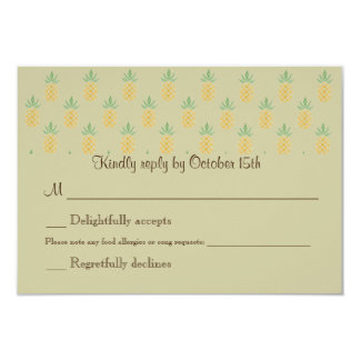 Bilingual Tropical RSVP Wedding Square 2-sided Card
