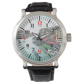 Bilingual Venice Italy in English Chinese Numeral Watch