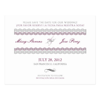 Bilingual Waves Wedding Save The Date Spa / Eng Postcard