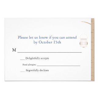 Bilingual Woodland Wedding RSVP Custom Invite