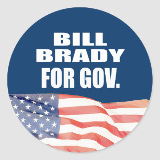 BILL BRADY FOR GOVERNOR CLASSIC ROUND STICKER