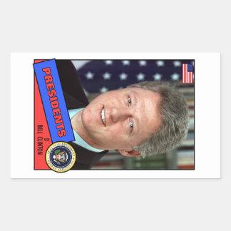 Bill Clinton Baseball Card Rectangular Sticker