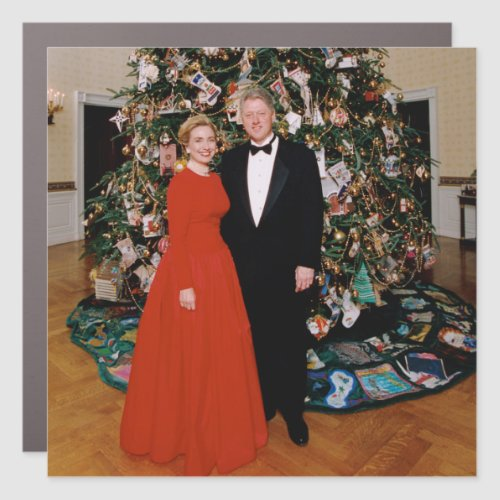 Bill Clinton US President White House Christmas Ca Car Magnet