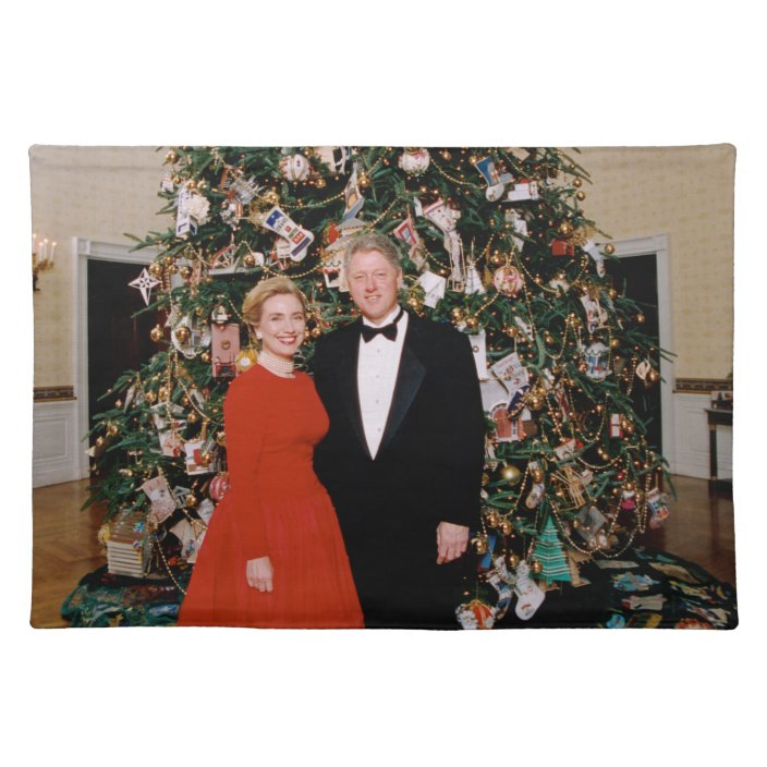 Bill Clinton Us President White House Christmas Cloth Placemat Zazzle Com