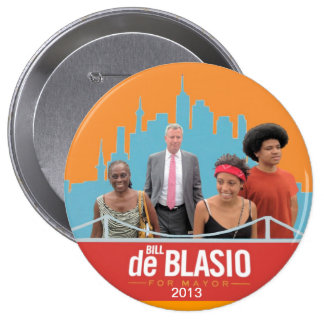 Bill de Blasio & Family NYC Mayor 2013 Button