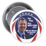 Bill de Blasio NYC Mayor 2012 3 Inch Round Button