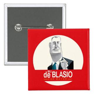 Bill de Blasio NYC Mayor 2013 2 Inch Square Button