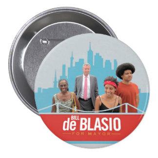 Bill de Blasio para el alcalde de NYC en 2013 Pin Redondo De 3 Pulgadas