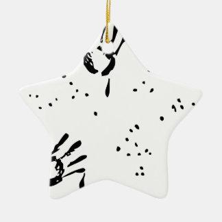 Bill de la mano negra adorno navideño de cerámica en forma de estrella