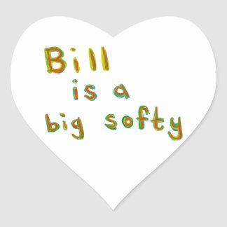 Bill is a big softy fun colorful painting name art heart sticker