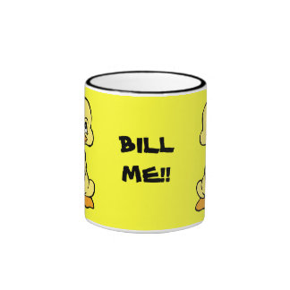 BILL ME! yellow duck ringer ceramic mug