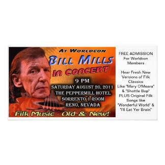 Bill Mills in Concert at Worldcon Souvenir Ticket Card