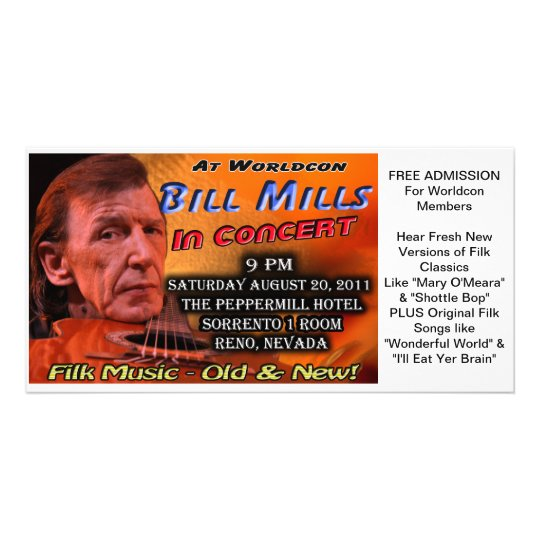 Bill Mills in Concert at Worldcon Souvenir Ticket Card