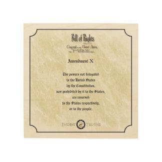 Bill of Rights - 10th Amendment rustic wall plaque Wood Print