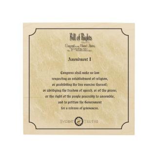 Bill of Rights - 1st Amendment rustic wall plaque Wood Print