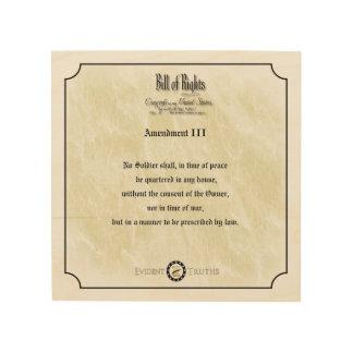 Bill of Rights - 3rd Amendment rustic wall plaque Wood Wall Decor