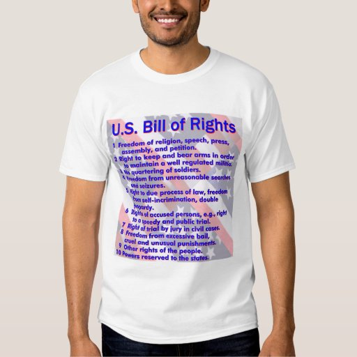Bill of Rights Summary on a flag background T-Shirt