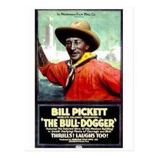 """Bill Pickett en la postal """"de la Bull-Dogger"""""""
