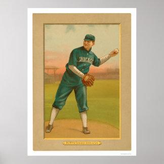 Bill quema el béisbol 1911 de White Sox Póster