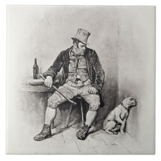 Bill Sykes and his dog, from 'Charles Dickens: A G Ceramic Tile