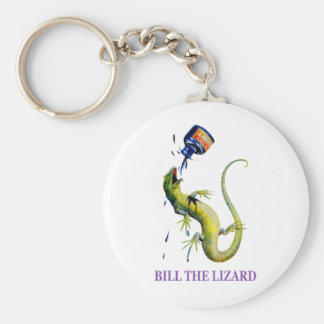 BILL THE LIZARD AND A TOSSED BOTTLE OF INK BASIC ROUND BUTTON KEYCHAIN