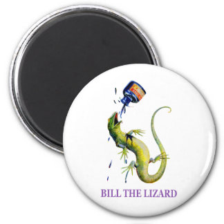BILL THE LIZARD AND A TOSSED BOTTLE OF INK FRIDGE MAGNET