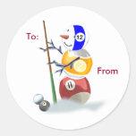 Billards Snowman Christmas Package Stickers