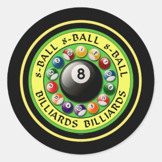BILLARES 8-BALL PEGATINA REDONDA