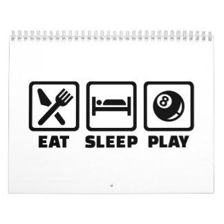 Billares de Eat Sleep Play Calendarios De Pared