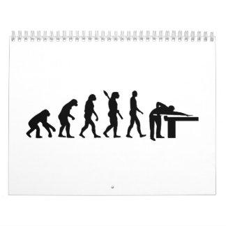 Billares de la evolución calendarios de pared