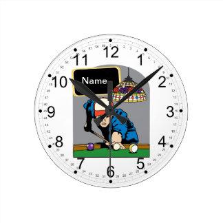 Billares para hombre personalizados reloj redondo mediano