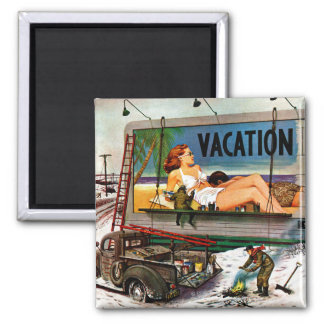 Billboard Painters in Winter by Stevan Dohanos 2 Inch Square Magnet