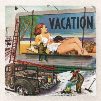 Billboard Painters in Winter by Stevan Dohanos Glass Coaster