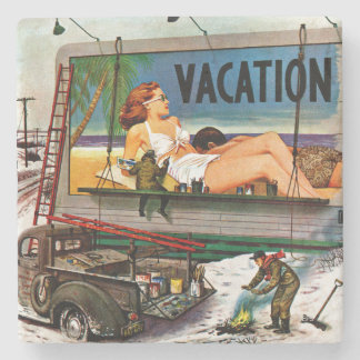 Billboard Painters in Winter by Stevan Dohanos Stone Coaster