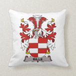 Bille Family Crest Throw Pillows