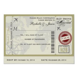Billete de avión que casa RSVP Invitación 8,9 X 12,7 Cm