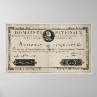 billete de banco de 50 livres, el 29 de octubre de impresiones